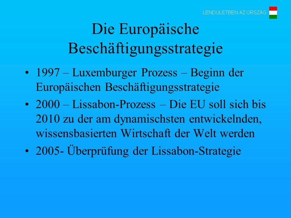 Die Europäische Beschäftigungsstrategie 1997 – Luxemburger Prozess – Beginn der Europäischen Beschäftigungsstrategie 2000 – Lissabon-Prozess – Die EU