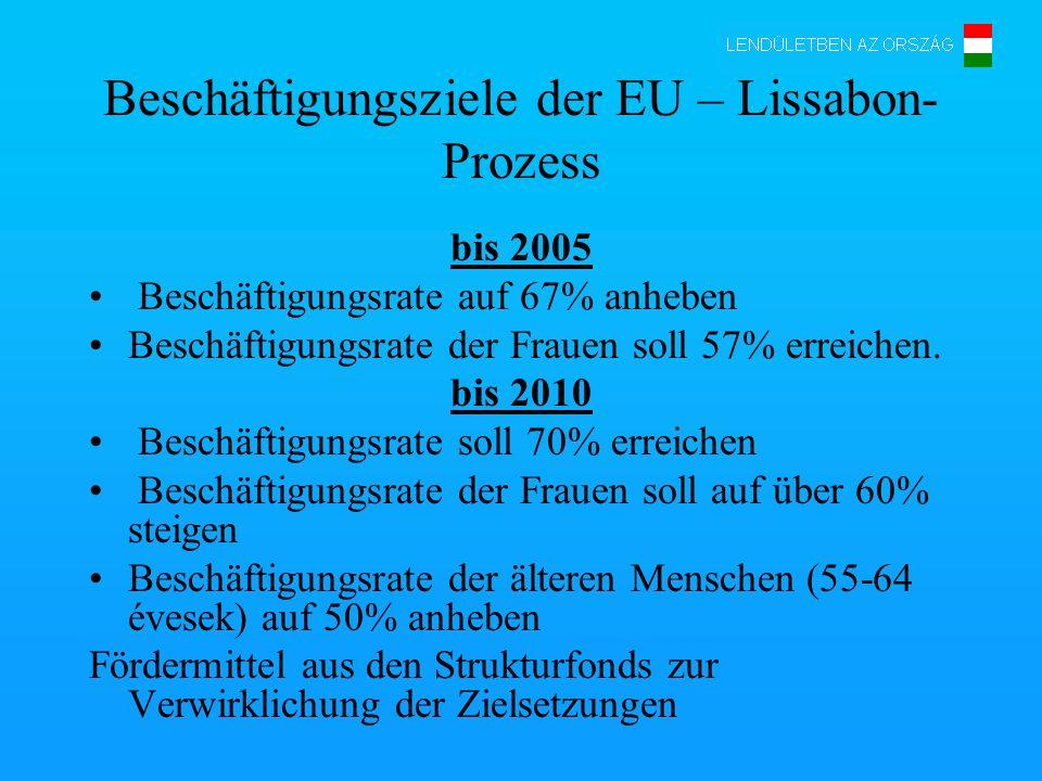 Beschäftigungsziele der EU – Lissabon- Prozess bis 2005 Beschäftigungsrate auf 67% anheben Beschäftigungsrate der Frauen soll 57% erreichen. bis 2010