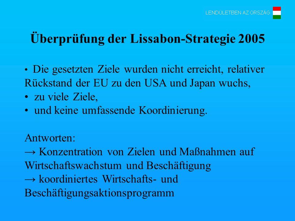 Die bekräftigte Lissabon-Strategie Neue integrierte Richtungsweiser Nationales Aktionsprogramm 1.Makroökonomische Richtungsweiser (Fiskale Politik, Lohnpolitik, nachhaltige Renten- und Krankenversorgungf, Steuerpolitik) 2.Mikroökonomische Richtungsweiser (Ausbau des Binnenmarktes, Schaffung eines attraktiven Umfeldes für Unternehmungen, Weiterentwicklung der Infrastruktur, F+E sowie Innovation) 3.Richtungsweiser Beschäftigung
