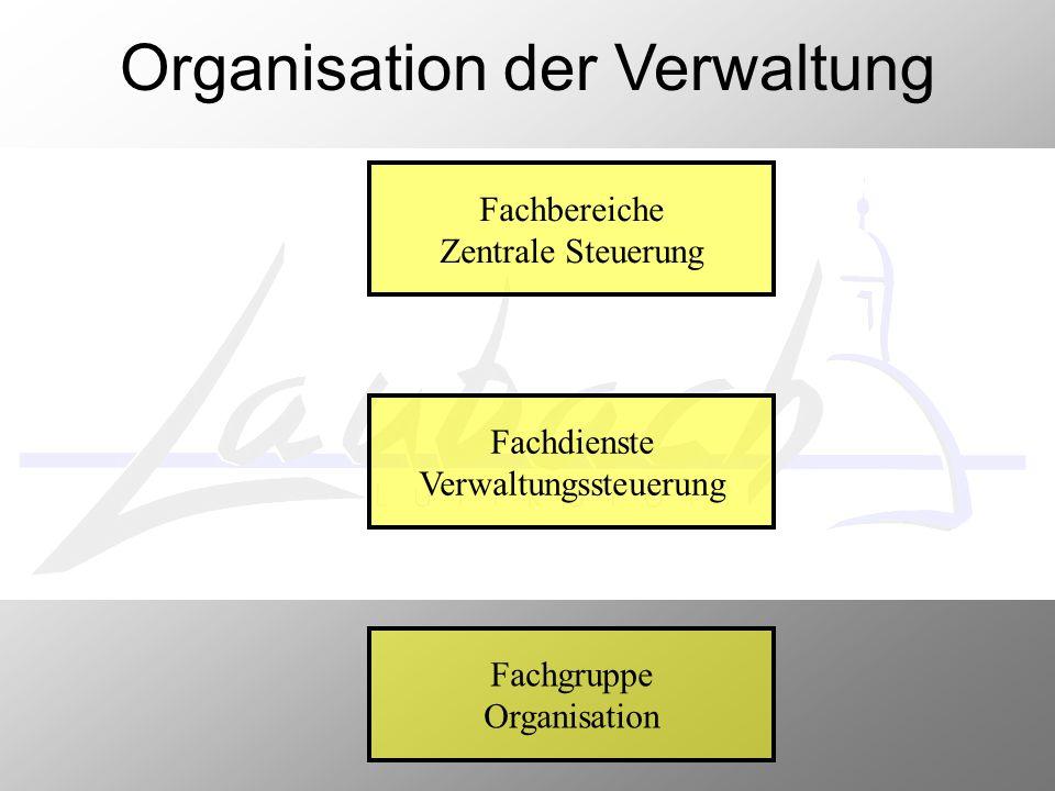 Fachbereiche Zentrale Steuerung Fachdienste Verwaltungssteuerung Fachgruppe Organisation Organisation der Verwaltung