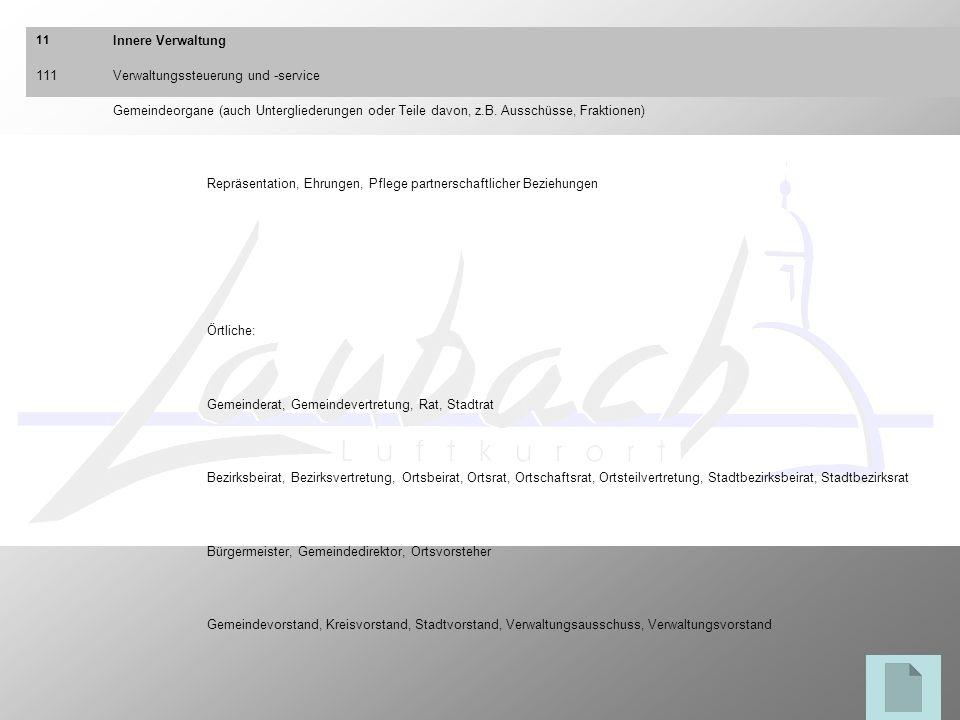 11 Innere Verwaltung 111Verwaltungssteuerung und -service Gemeindeorgane (auch Untergliederungen oder Teile davon, z.B. Ausschüsse, Fraktionen) Repräs