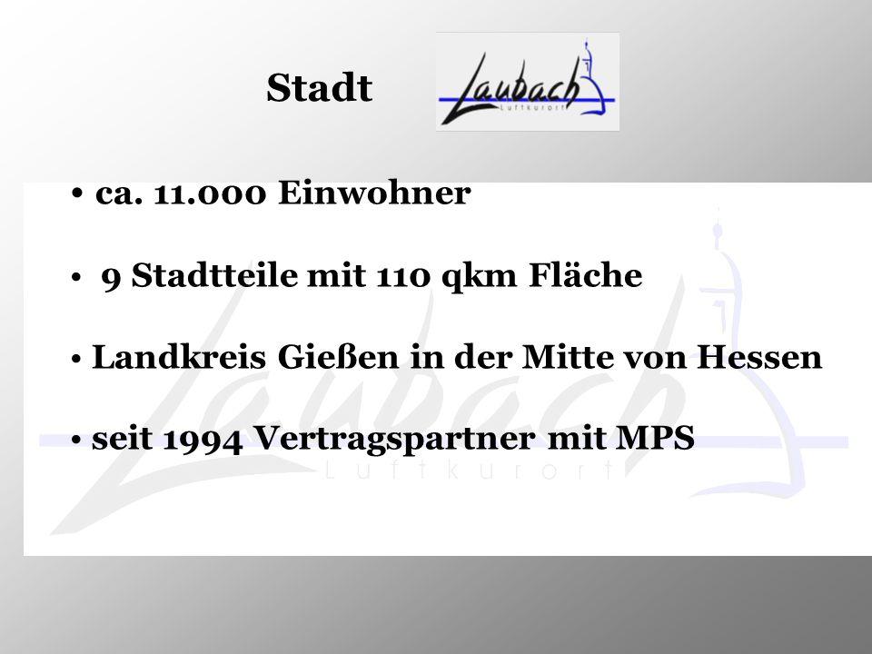 Stadt ca. 11.000 Einwohner 9 Stadtteile mit 110 qkm Fläche Landkreis Gießen in der Mitte von Hessen seit 1994 Vertragspartner mit MPS