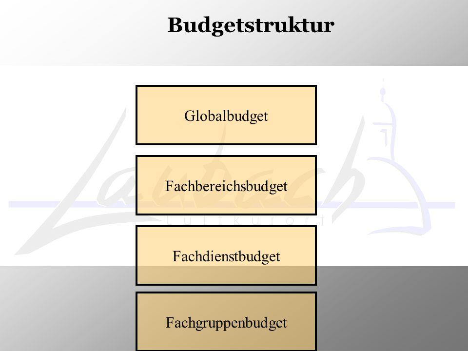 Budgetstruktur Globalbudget Fachbereichsbudget Fachdienstbudget Fachgruppenbudget
