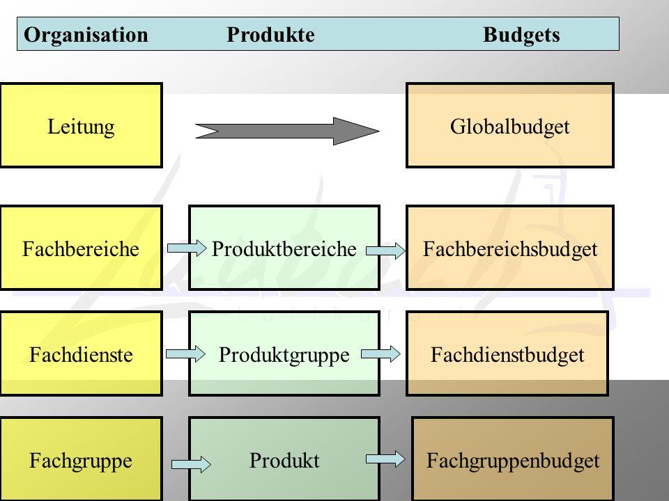 Organisation Produkte Budgets Leitung Fachbereiche Fachdienste Fachgruppe Produktbereiche Produktgruppe Produkt Globalbudget Fachbereichsbudget Fachdi