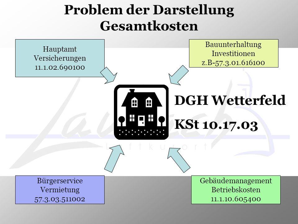 Problem der Darstellung Gesamtkosten DGH Wetterfeld KSt 10.17.03 Hauptamt Versicherungen 11.1.02.690100 Bauunterhaltung Investitionen z.B-57.3.01.6161