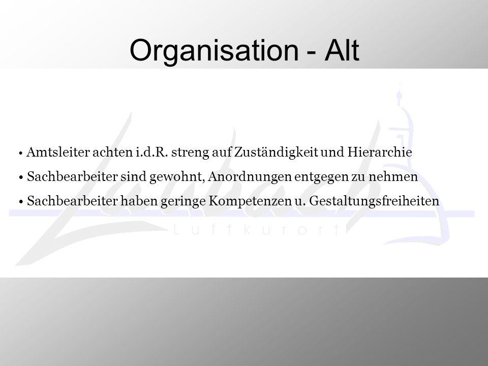 Organisation - Alt Amtsleiter achten i.d.R. streng auf Zuständigkeit und Hierarchie Sachbearbeiter sind gewohnt, Anordnungen entgegen zu nehmen Sachbe