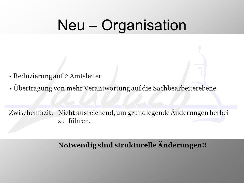 Neu – Organisation Reduzierung auf 2 Amtsleiter Übertragung von mehr Verantwortung auf die Sachbearbeiterebene Zwischenfazit: Nicht ausreichend, um gr