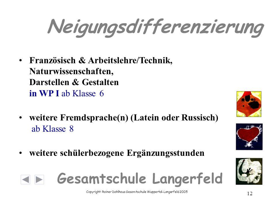 Copyright: Rainer Dahlhaus Gesamtschule Wuppertal-Langerfeld 2005 12 Gesamtschule Langerfeld Neigungsdifferenzierung Französisch & Arbeitslehre/Techni