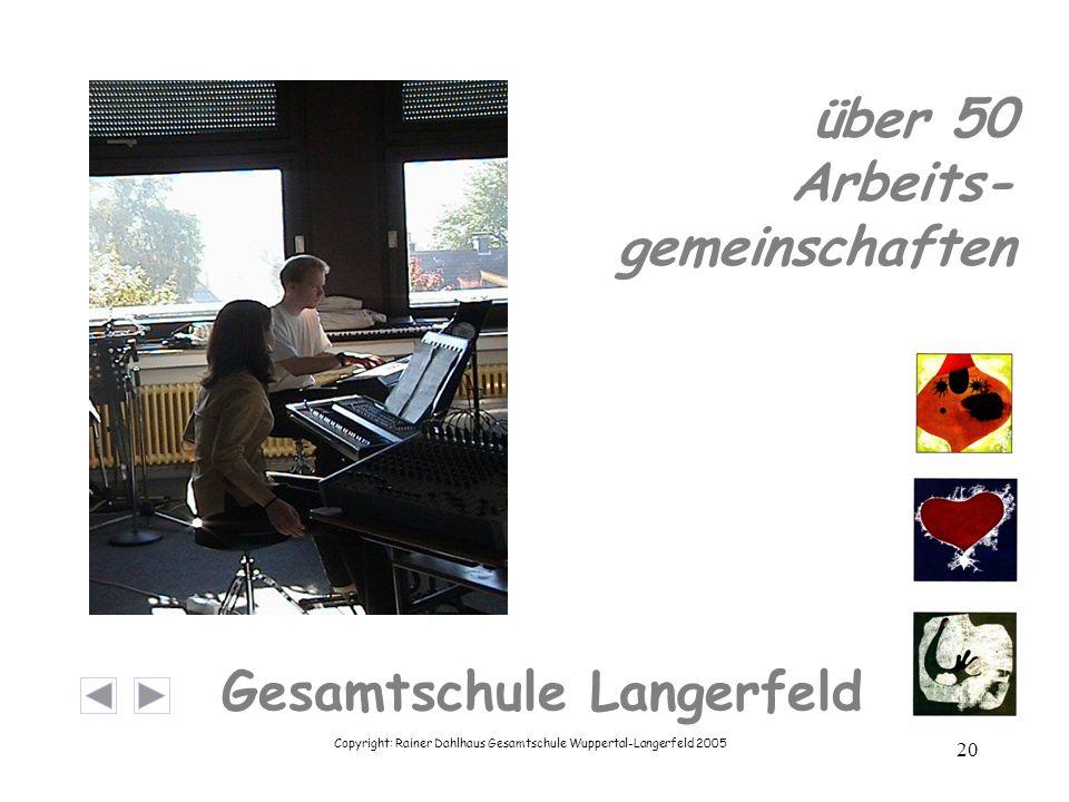 Copyright: Rainer Dahlhaus Gesamtschule Wuppertal-Langerfeld 2005 20 Gesamtschule Langerfeld über 50 Arbeits- gemeinschaften