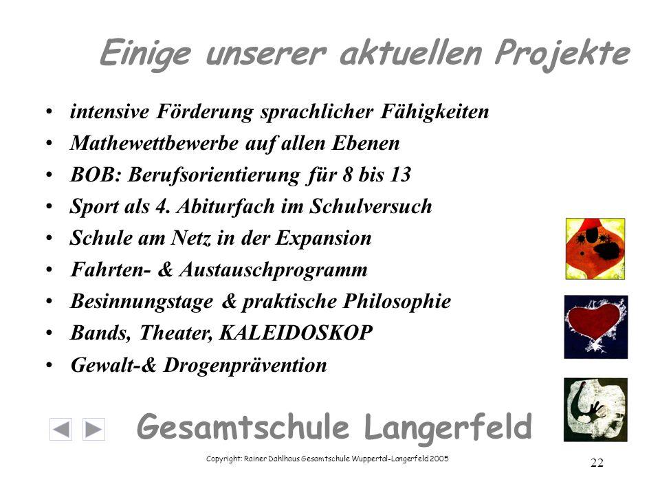 Copyright: Rainer Dahlhaus Gesamtschule Wuppertal-Langerfeld 2005 22 Gesamtschule Langerfeld Einige unserer aktuellen Projekte intensive Förderung sprachlicher Fähigkeiten Mathewettbewerbe auf allen Ebenen BOB: Berufsorientierung für 8 bis 13 Sport als 4.