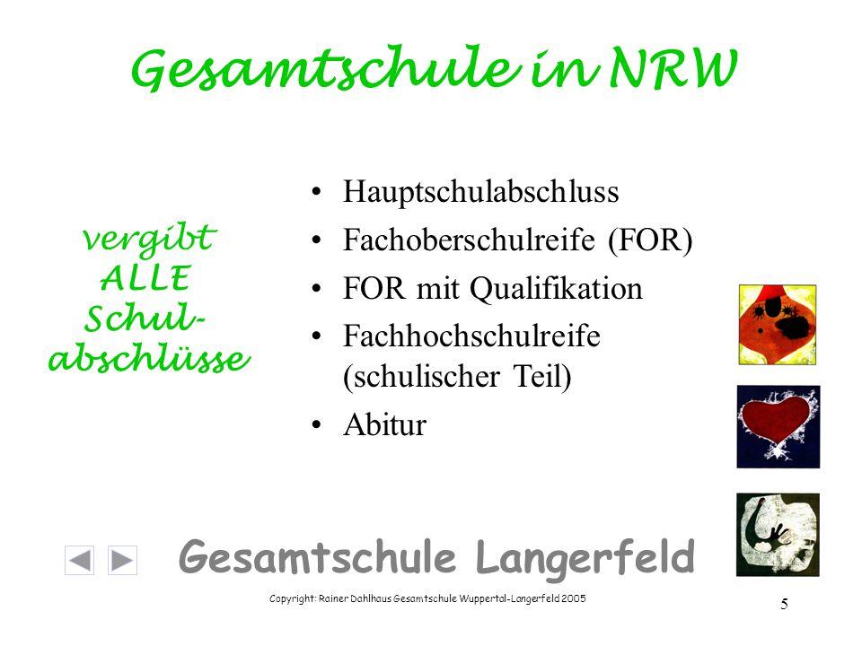 Copyright: Rainer Dahlhaus Gesamtschule Wuppertal-Langerfeld 2005 5 Gesamtschule Langerfeld Gesamtschule in NRW Hauptschulabschluss Fachoberschulreife