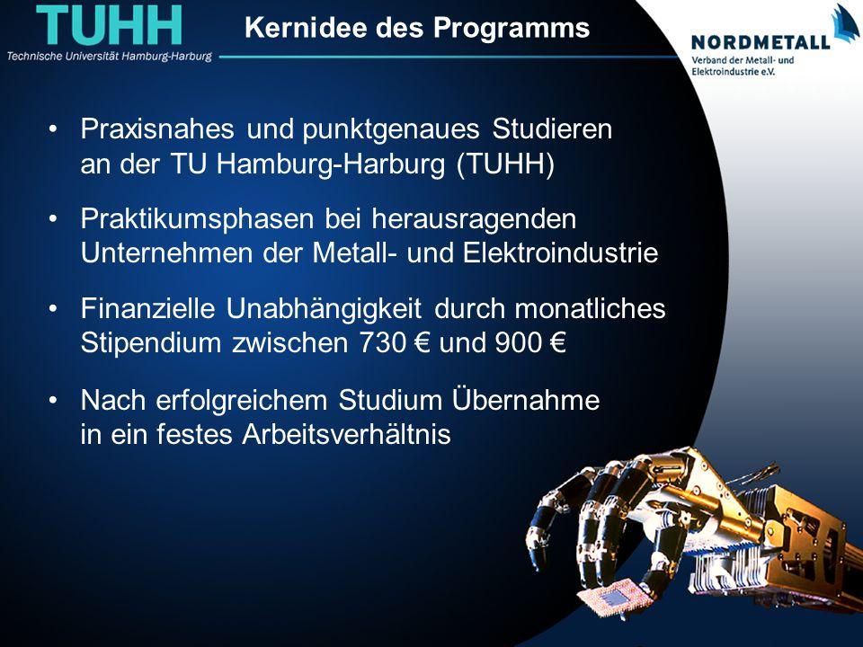 Kernidee des Programms Praxisnahes und punktgenaues Studieren an der TU Hamburg-Harburg (TUHH) Praktikumsphasen bei herausragenden Unternehmen der Met