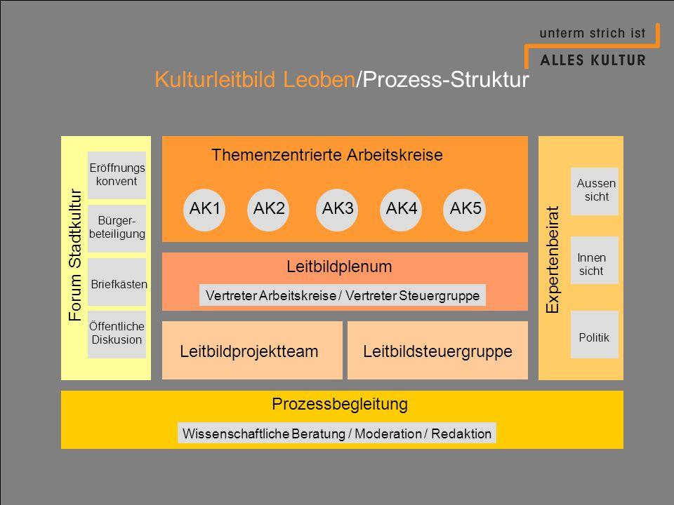 Kulturleitbild Leoben/Prozess-Struktur Themenzentrierte Arbeitskreise Leitbildplenum Leitbildprojektteam ProzessbegleitungForum Stadtkultur Expertenbe