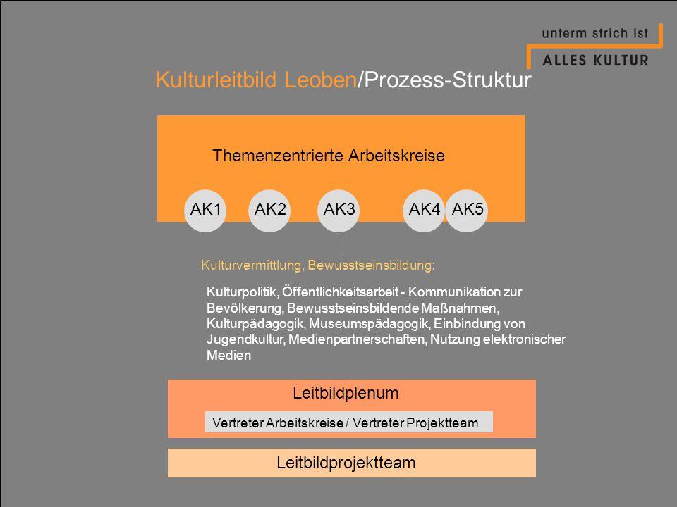 Kulturleitbild Leoben/Prozess-Struktur Themenzentrierte Arbeitskreise AK1AK2AK4AK3AK5 Kulturpolitik, Öffentlichkeitsarbeit - Kommunikation zur Bevölke