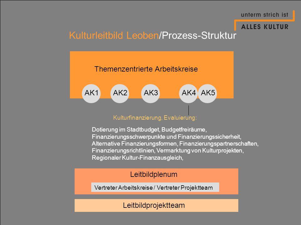 Kulturleitbild Leoben/Prozess-Struktur Themenzentrierte Arbeitskreise AK1AK2AK4AK3AK5 Dotierung im Stadtbudget, Budgetfreiräume, Finanzierungsschwerpu