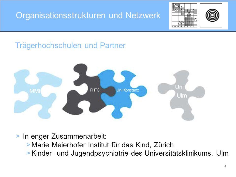 4 Organisationsstrukturen und Netzwerk Trägerhochschulen und Partner MMI Uni Ulm > In enger Zusammenarbeit: >Marie Meierhofer Institut für das Kind, Z