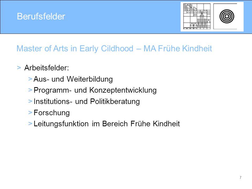 7 Berufsfelder > Arbeitsfelder: >Aus- und Weiterbildung >Programm- und Konzeptentwicklung >Institutions- und Politikberatung >Forschung >Leitungsfunkt