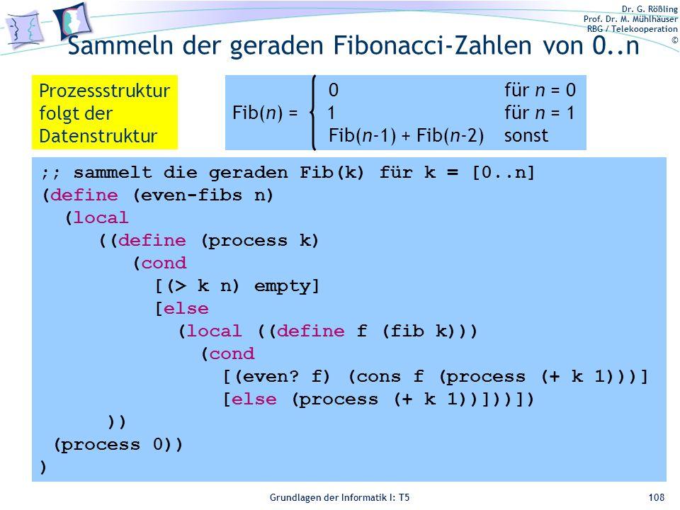 Dr. G. Rößling Prof. Dr. M. Mühlhäuser RBG / Telekooperation © Grundlagen der Informatik I: T5 Sammeln der geraden Fibonacci-Zahlen von 0..n 108 0für