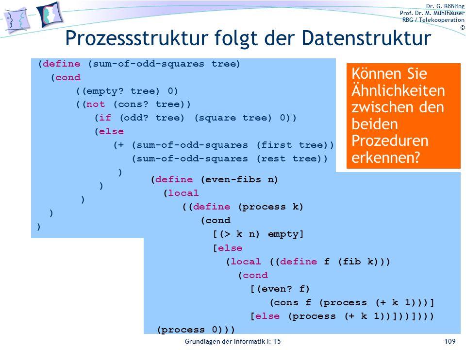 Dr. G. Rößling Prof. Dr. M. Mühlhäuser RBG / Telekooperation © Grundlagen der Informatik I: T5 (define (sum-of-odd-squares tree) (cond ((empty? tree)
