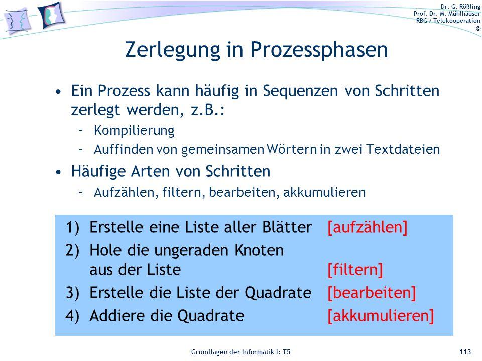 Dr. G. Rößling Prof. Dr. M. Mühlhäuser RBG / Telekooperation © Grundlagen der Informatik I: T5 Zerlegung in Prozessphasen Ein Prozess kann häufig in S
