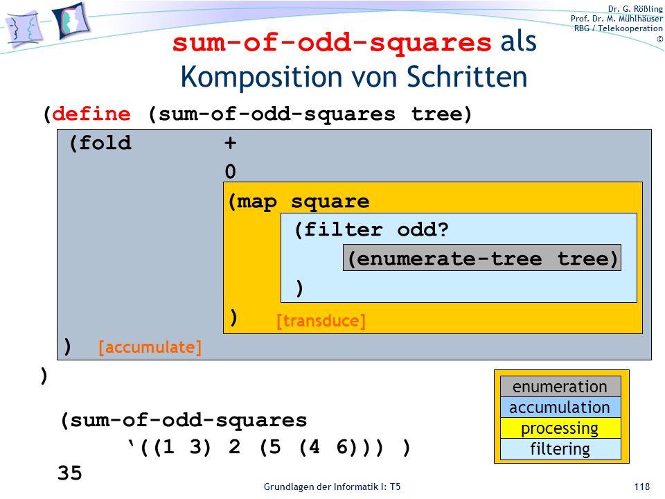 Dr. G. Rößling Prof. Dr. M. Mühlhäuser RBG / Telekooperation © Grundlagen der Informatik I: T5 sum-of-odd-squares als Komposition von Schritten 118 [t