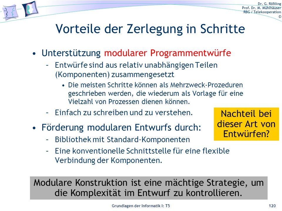 Dr. G. Rößling Prof. Dr. M. Mühlhäuser RBG / Telekooperation © Grundlagen der Informatik I: T5 Vorteile der Zerlegung in Schritte Unterstützung modula
