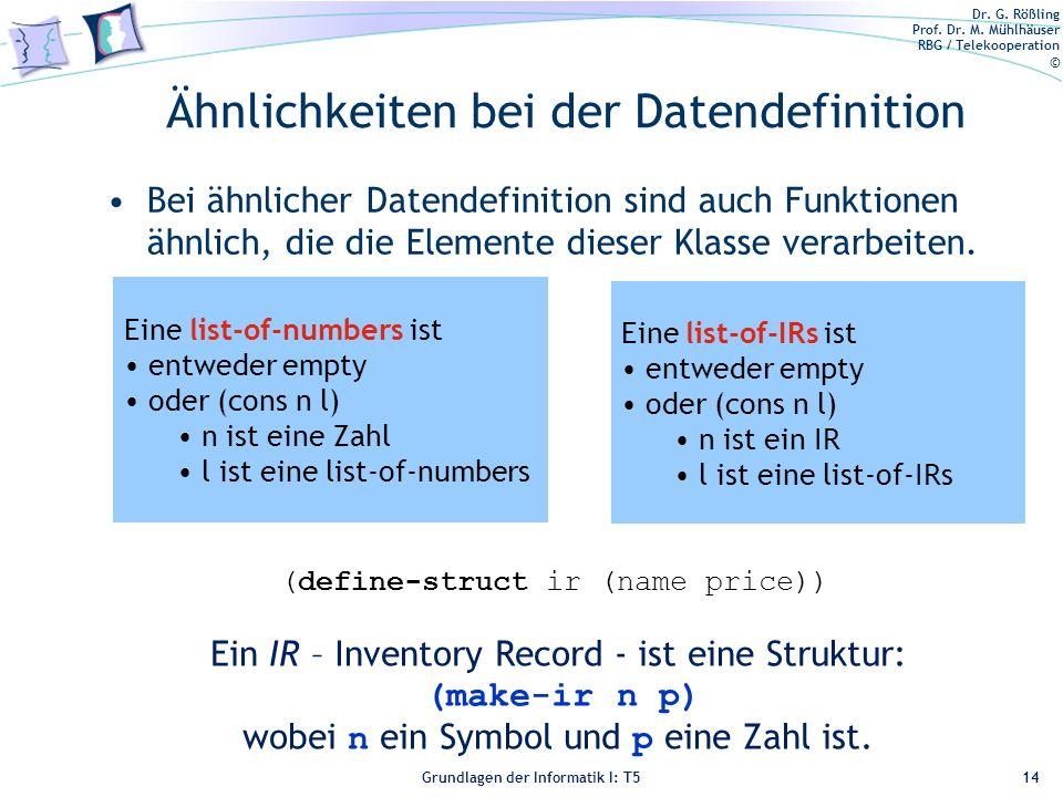 Dr. G. Rößling Prof. Dr. M. Mühlhäuser RBG / Telekooperation © Grundlagen der Informatik I: T5 Ähnlichkeiten bei der Datendefinition Bei ähnlicher Dat