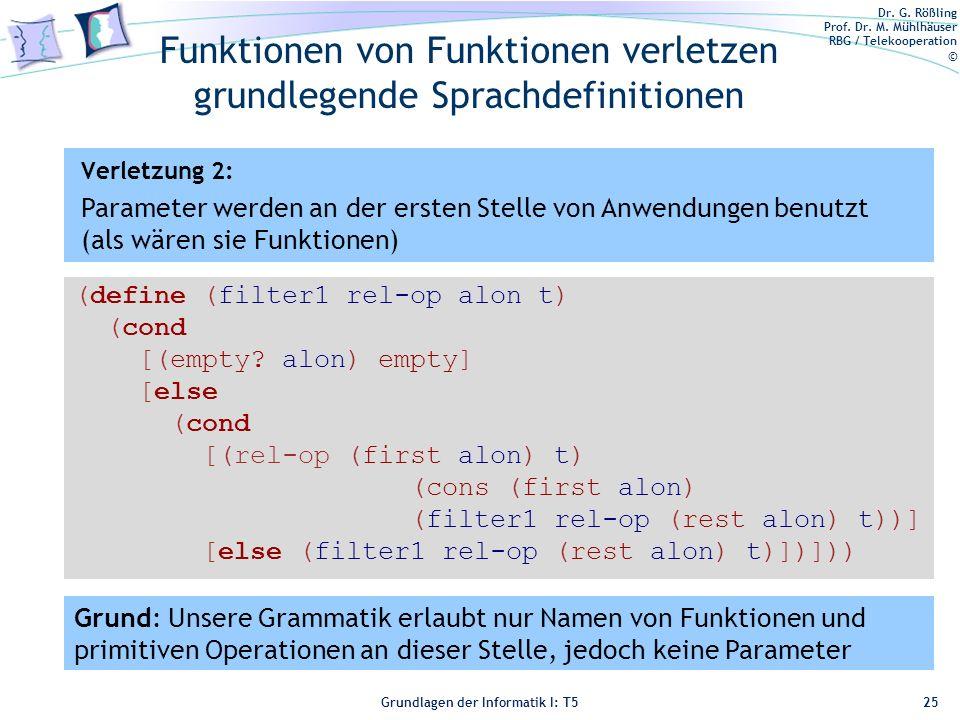 Dr. G. Rößling Prof. Dr. M. Mühlhäuser RBG / Telekooperation © Grundlagen der Informatik I: T5 Funktionen von Funktionen verletzen grundlegende Sprach