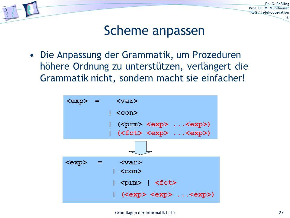 Dr. G. Rößling Prof. Dr. M. Mühlhäuser RBG / Telekooperation © Grundlagen der Informatik I: T5 Scheme anpassen Die Anpassung der Grammatik, um Prozedu