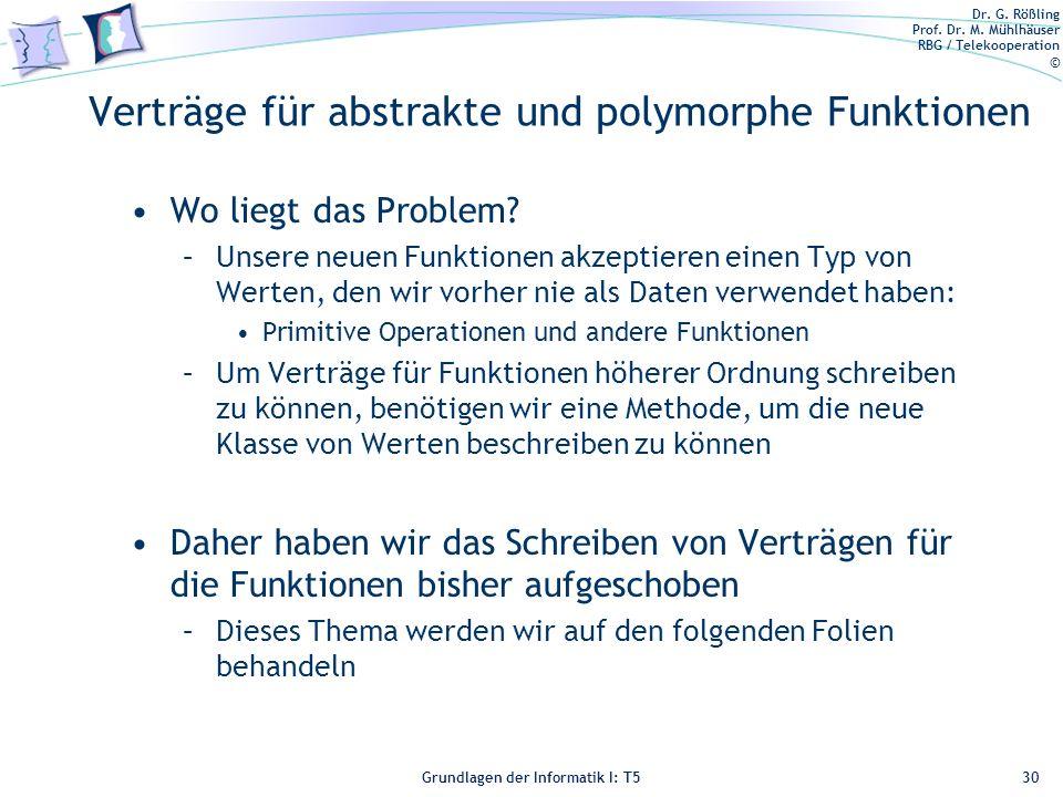 Dr. G. Rößling Prof. Dr. M. Mühlhäuser RBG / Telekooperation © Grundlagen der Informatik I: T5 Verträge für abstrakte und polymorphe Funktionen Wo lie
