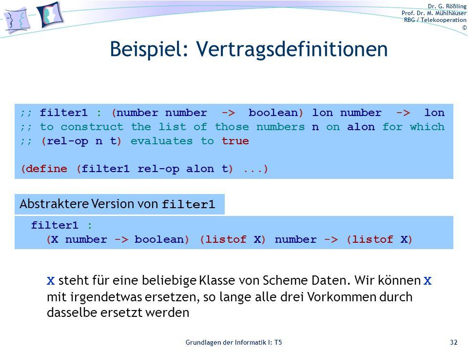 Dr. G. Rößling Prof. Dr. M. Mühlhäuser RBG / Telekooperation © Grundlagen der Informatik I: T5 Beispiel: Vertragsdefinitionen Erste Version von filter