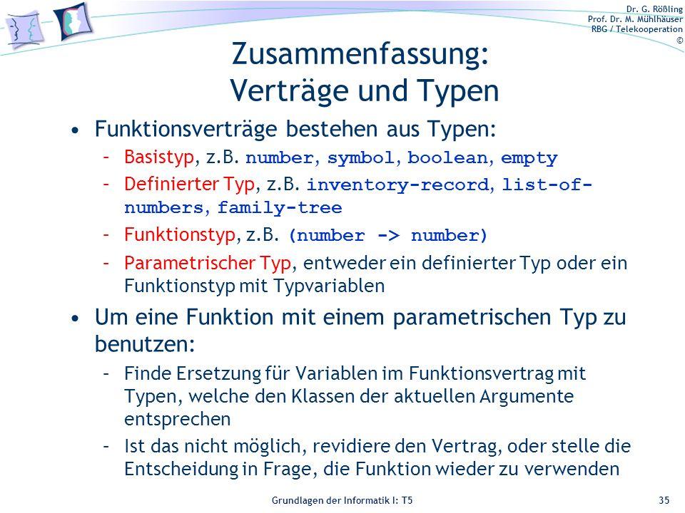 Dr. G. Rößling Prof. Dr. M. Mühlhäuser RBG / Telekooperation © Grundlagen der Informatik I: T5 Zusammenfassung: Verträge und Typen Funktionsverträge b