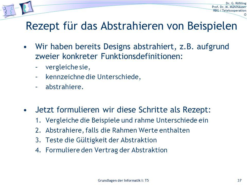 Dr. G. Rößling Prof. Dr. M. Mühlhäuser RBG / Telekooperation © Grundlagen der Informatik I: T5 Rezept für das Abstrahieren von Beispielen Wir haben be