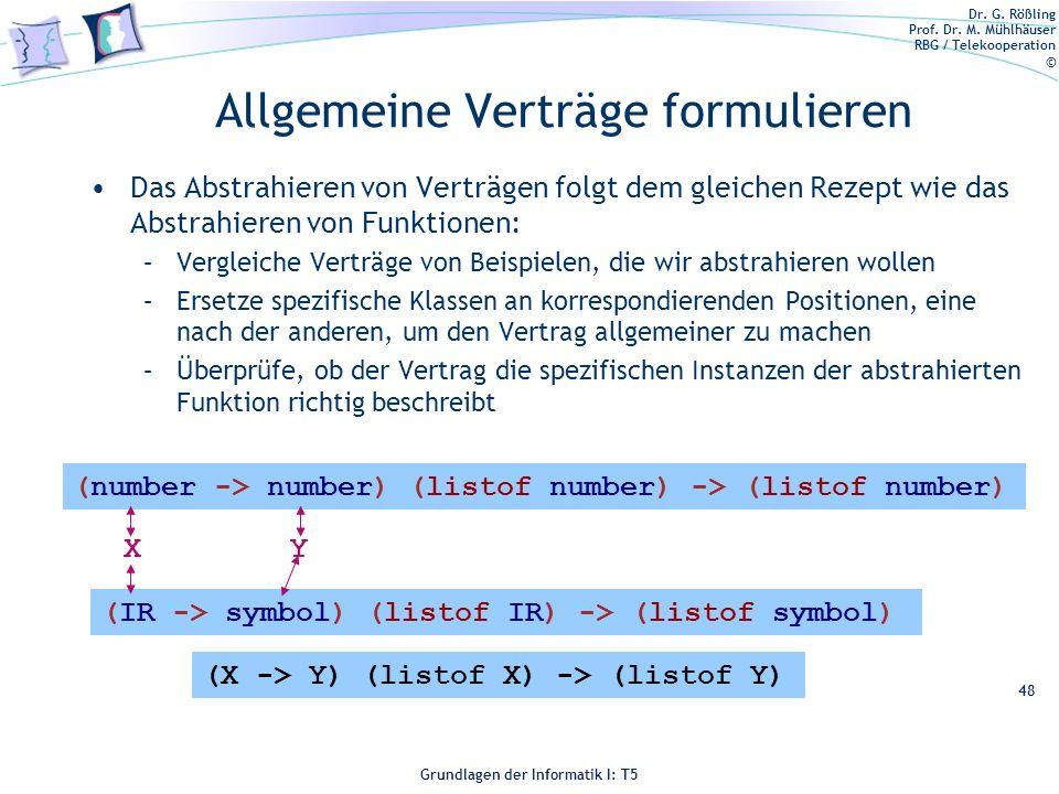Dr. G. Rößling Prof. Dr. M. Mühlhäuser RBG / Telekooperation © Grundlagen der Informatik I: T5 Allgemeine Verträge formulieren Das Abstrahieren von Ve
