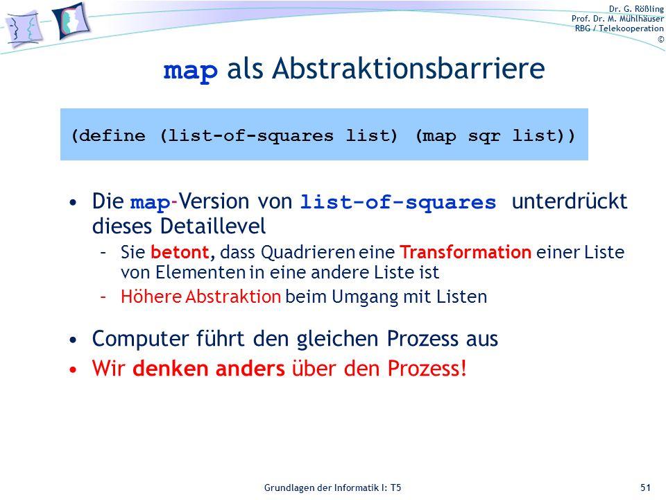 Dr. G. Rößling Prof. Dr. M. Mühlhäuser RBG / Telekooperation © Grundlagen der Informatik I: T5 map als Abstraktionsbarriere 51 Die map -Version von li