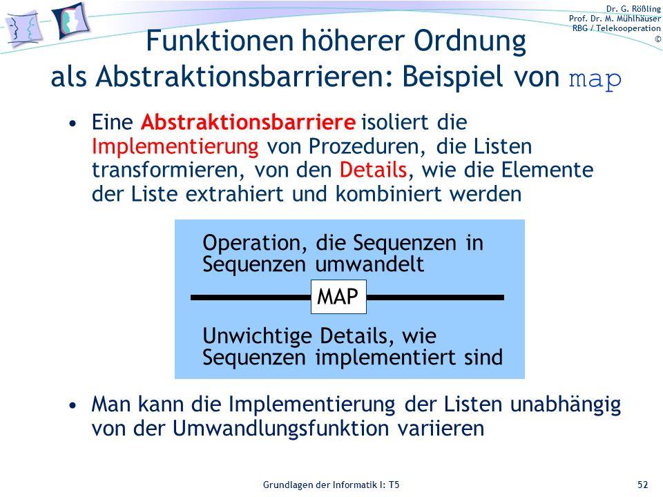 Dr. G. Rößling Prof. Dr. M. Mühlhäuser RBG / Telekooperation © Grundlagen der Informatik I: T5 Funktionen höherer Ordnung als Abstraktionsbarrieren: B