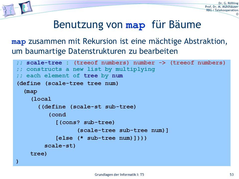 Dr. G. Rößling Prof. Dr. M. Mühlhäuser RBG / Telekooperation © Grundlagen der Informatik I: T5 Benutzung von map für Bäume map zusammen mit Rekursion