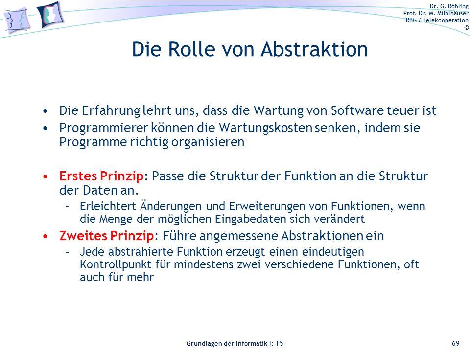 Dr. G. Rößling Prof. Dr. M. Mühlhäuser RBG / Telekooperation © Grundlagen der Informatik I: T5 Die Rolle von Abstraktion Die Erfahrung lehrt uns, dass