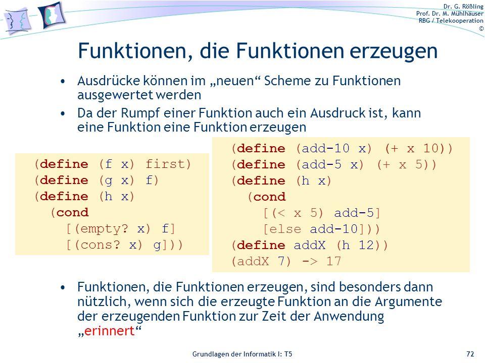 Dr. G. Rößling Prof. Dr. M. Mühlhäuser RBG / Telekooperation © Grundlagen der Informatik I: T5 Funktionen, die Funktionen erzeugen Ausdrücke können im