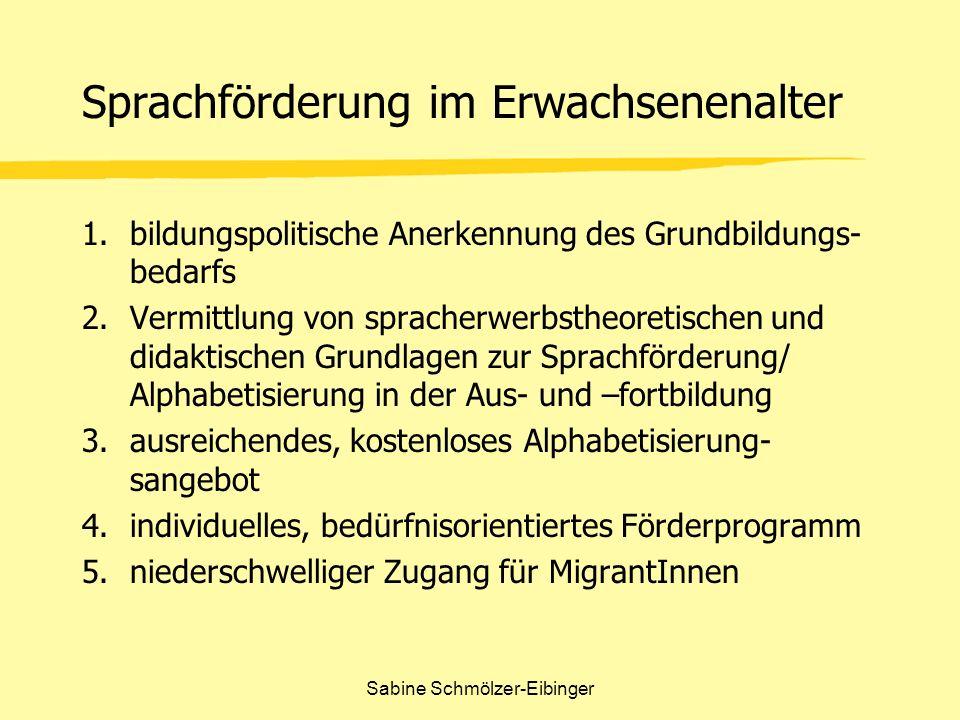 Sabine Schmölzer-Eibinger Sprachförderung im Erwachsenenalter 1.bildungspolitische Anerkennung des Grundbildungs- bedarfs 2.Vermittlung von spracherwe