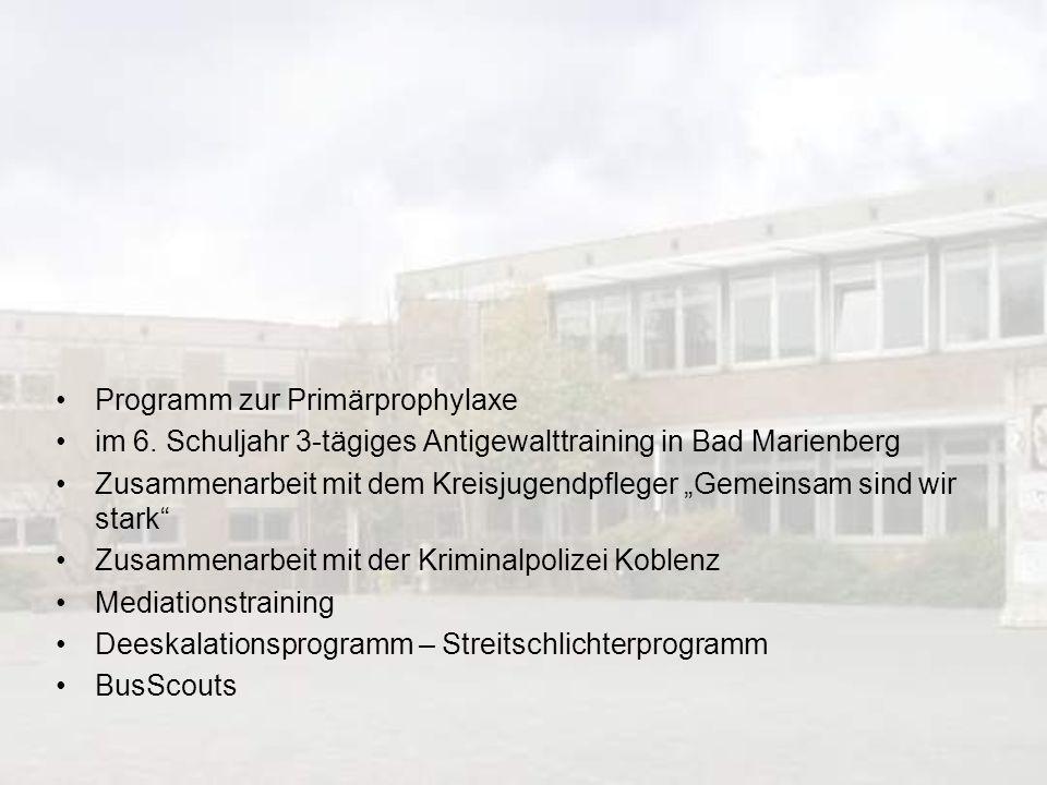 Programm zur Primärprophylaxe im 6. Schuljahr 3-tägiges Antigewalttraining in Bad Marienberg Zusammenarbeit mit dem Kreisjugendpfleger Gemeinsam sind