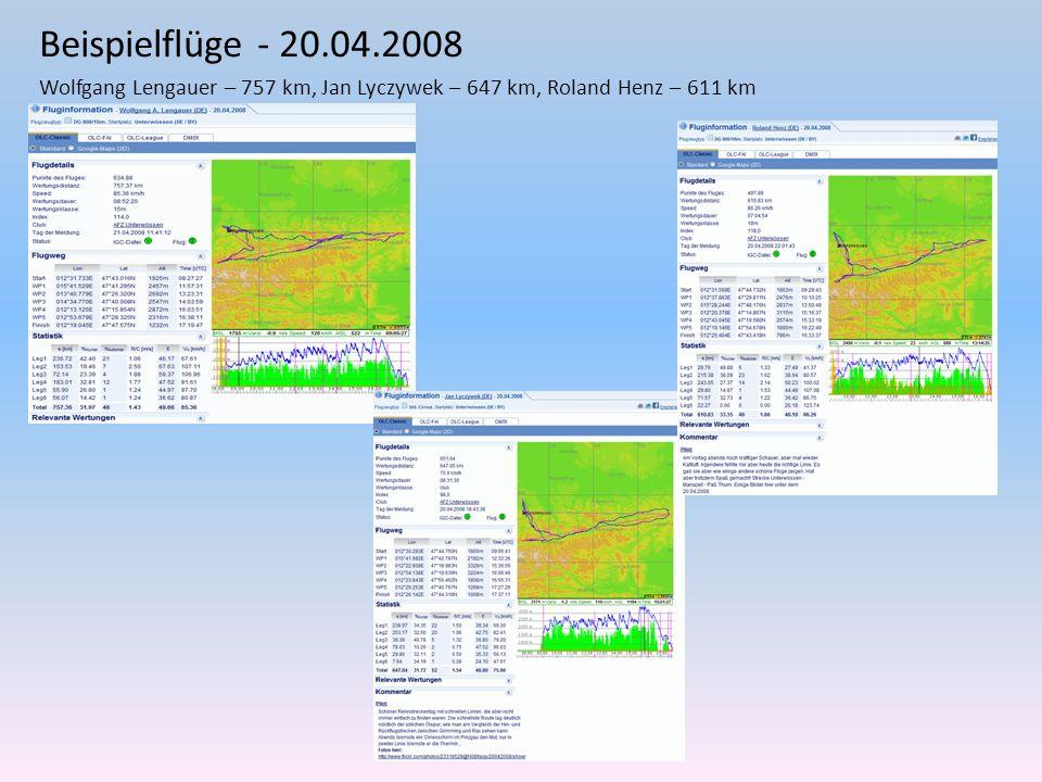 Beispielflüge - 20.04.2008 Wolfgang Lengauer – 757 km, Jan Lyczywek – 647 km, Roland Henz – 611 km