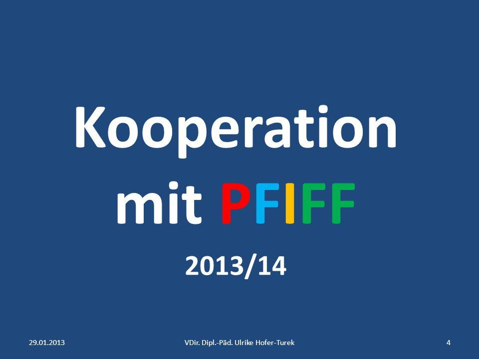 Kooperation mit PFIFF 2013/14 29.01.20134VDir. Dipl.-Päd. Ulrike Hofer-Turek