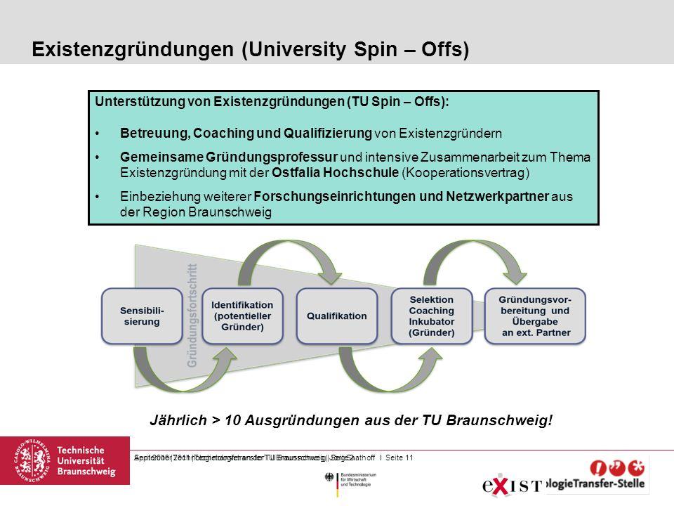 September 2011 |Technologietransfer TU Braunschweig | Jörg Saathoff I Seite 11 Existenzgründungen (University Spin – Offs) April 2010 |Technologietran