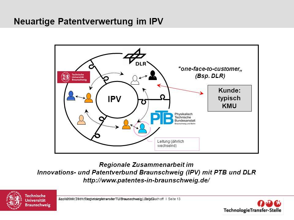 September 2011  Technologietransfer TU Braunschweig   Jörg Saathoff I Seite 13 Neuartige Patentverwertung im IPV April 2010  Technologietransfer an de
