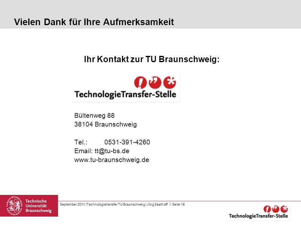 September 2011 |Technologietransfer TU Braunschweig | Jörg Saathoff I Seite 15 Vielen Dank für Ihre Aufmerksamkeit Ihr Kontakt zur TU Braunschweig: Bü