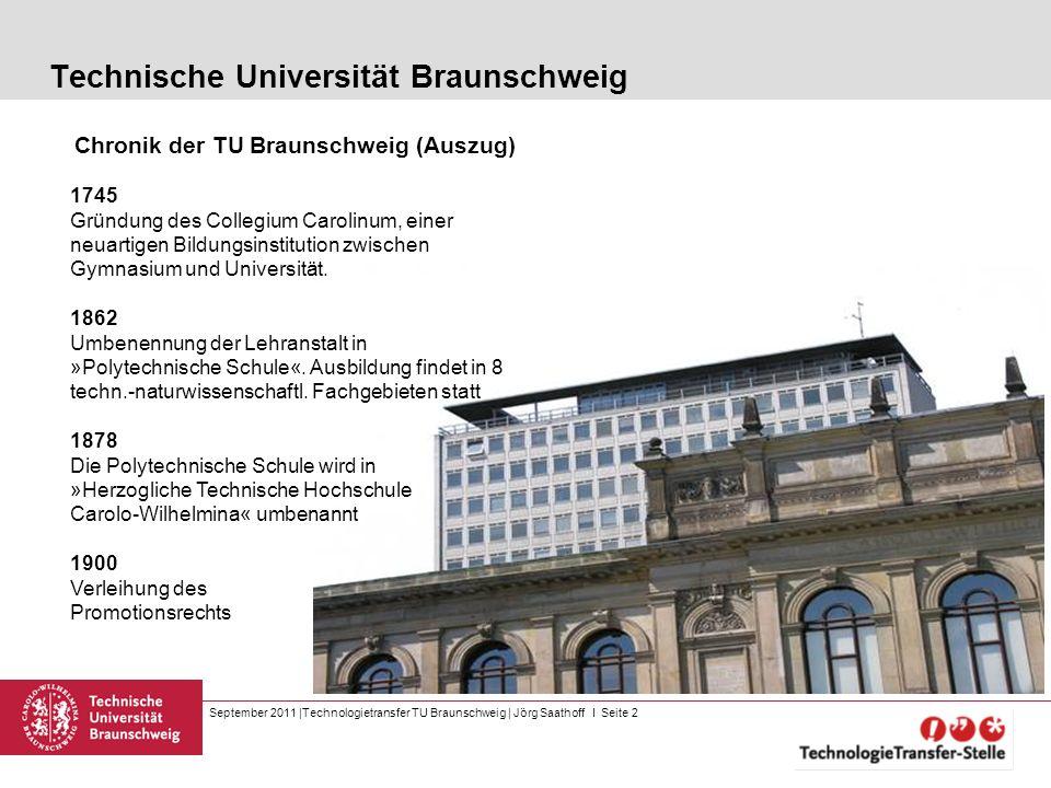 September 2011 |Technologietransfer TU Braunschweig | Jörg Saathoff I Seite 2 Technische Universität Braunschweig Chronik der TU Braunschweig (Auszug)