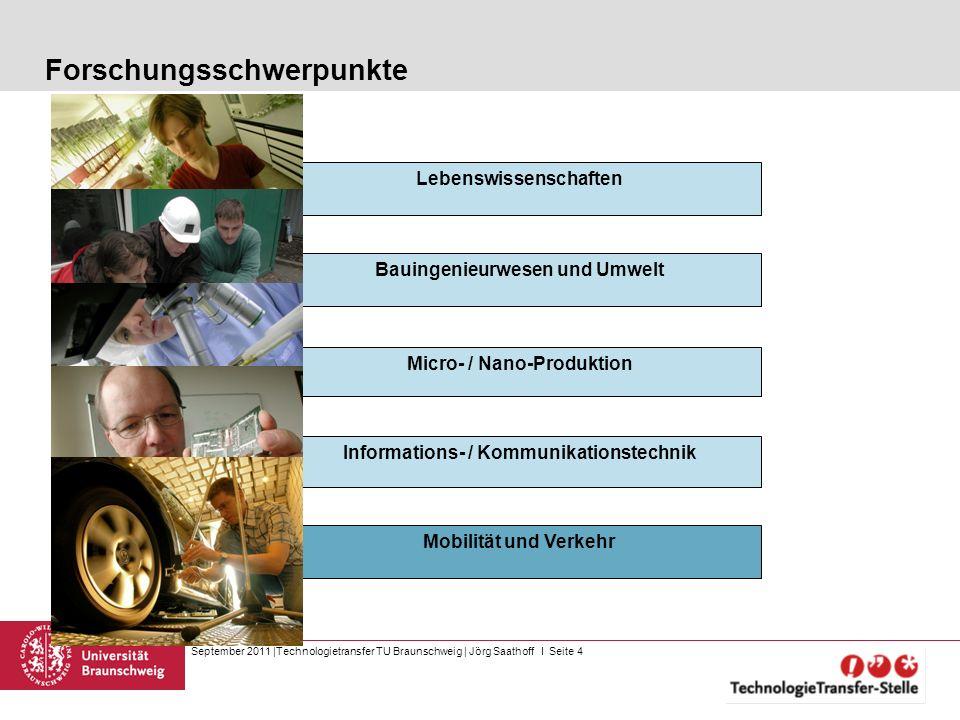 September 2011  Technologietransfer TU Braunschweig   Jörg Saathoff I Seite 4 Bauingenieurwesen und Umwelt Lebenswissenschaften Micro- / Nano-Produkti
