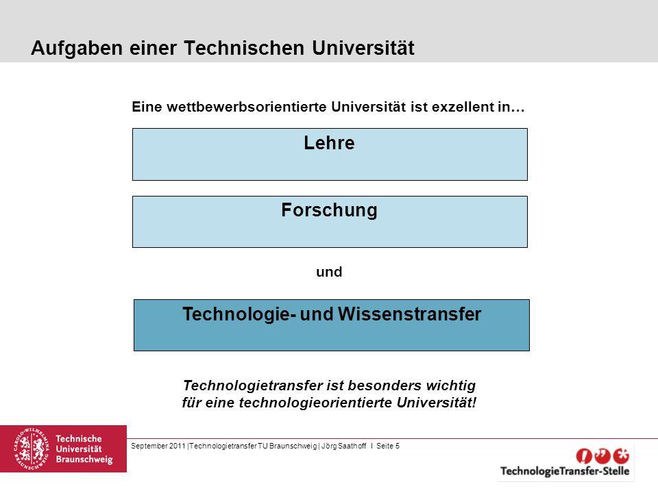 September 2011 |Technologietransfer TU Braunschweig | Jörg Saathoff I Seite 5 Aufgaben einer Technischen Universität Lehre Forschung Technologietransf