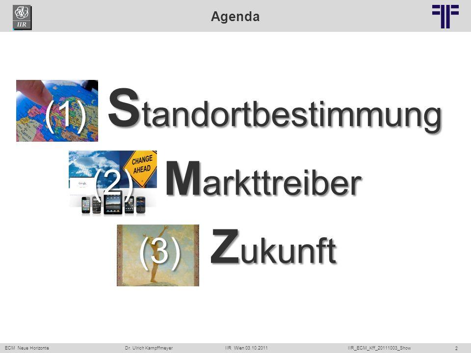 ECM Neue HorizonteIIR Wien 03.10.2011Dr. Ulrich KampffmeyerIIR_ECM_Kff_20111003_Show 2 Agenda (1) S tandortbestimmung (2) M arkttreiber (3) Z ukunft
